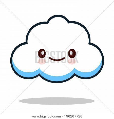Kawaii cartoon white emoticon cute cloud. Vector Illustration