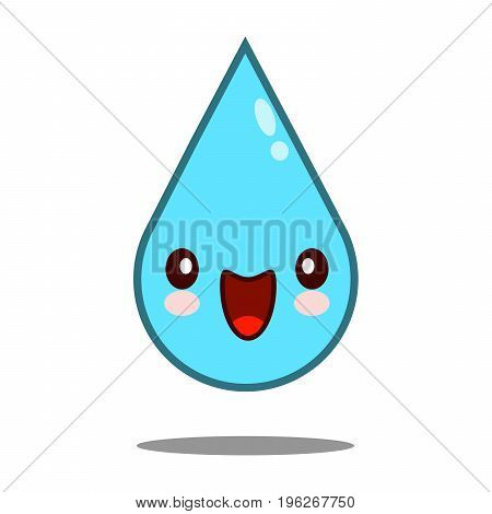 Kawaii nice shy waterdrop face. Funny, cute, sweet emotion smile Vector illustration