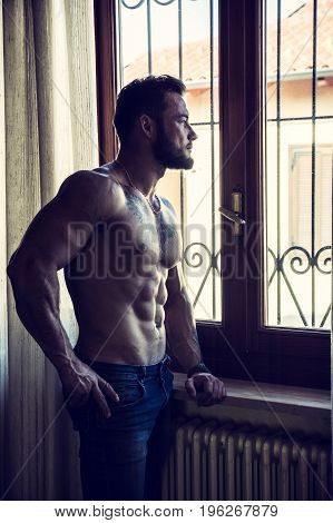 Portrait of sexy shirtless muscular man next to window curtains during the day, wearing only jeans, looking out