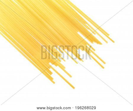 Macaroni, spaghetti, pasta, noodles isolated over the bright white background. A pile of colorful light long uncooked pasta. Healthful ingredients for mediterranean lunches.