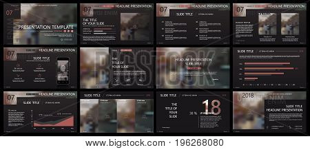 Elements for infographics on a dark background. Presentation templates. Use in presentation, flyer and leaflet, corporate report, marketing, advertising, annual report, banner.