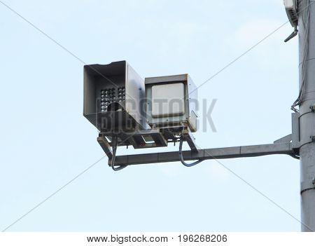 modern speed control camera on a pole
