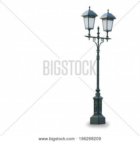 Old vintage stret lamp isolated over white