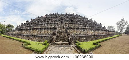 temple named Borobudur located in Java a island of Indonesia