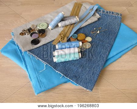 Sewing material with fabric, twine and buttons
