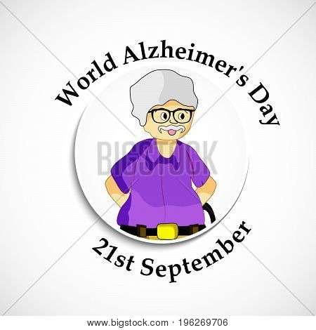 illustration of old man with World Alzheimer's Day 21st September text on the occasion of World Alzheimer's Day