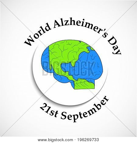 illustration of brain in earth background with World Alzheimer's Day 21st September text on the occasion of World Alzheimer's Day