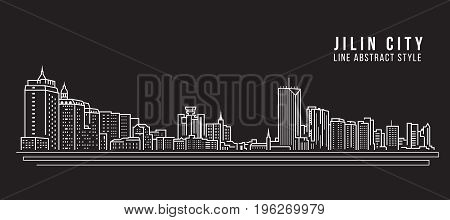 Cityscape Building Line art Vector Illustration design - Jilin city
