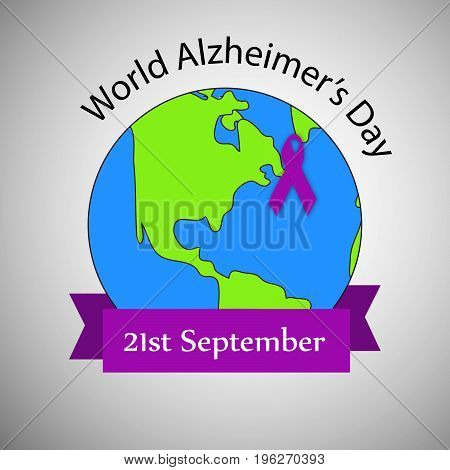 illustration of ribbon on earth background with World Alzheimer's Day 21st September text on the occasion of World Alzheimer's Day