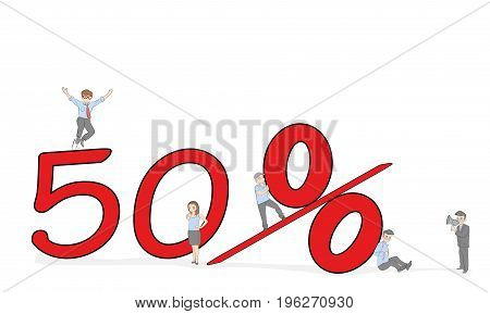 Sketch of working little people with big 50 percent sign. Doodle cute miniature scene of workers and financial symbol. Hand drawn cartoon vector illustration for business design.