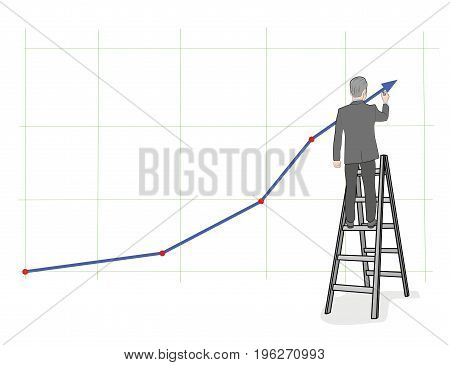 Businessman draws a growth chart standing on the stairs. vector illustration.