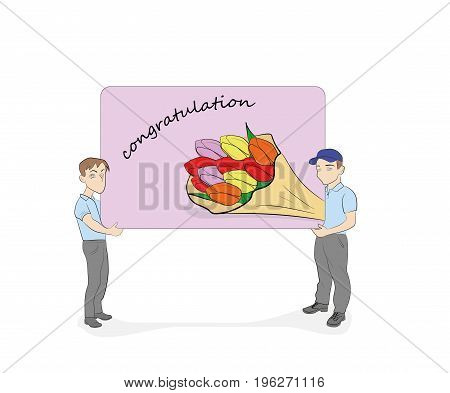 Little people are holding a card with congratulations. vector illustration.