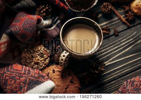 Aromatic Coffee Cookies And Spices On Wooden Background, Stylish Rustic Winter Wallpaper. Space For