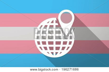 Long Shadow  Trans Gender Flag With A World Globe