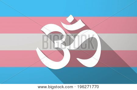 Long Shadow  Trans Gender Flag With An Om Sign