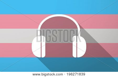 Long Shadow  Trans Gender Flag With A Earphones