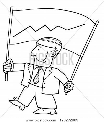 Comic Businessman And Banner With Chart