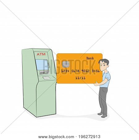 a little man holding a bank plastic card near ATM. vector illustration.