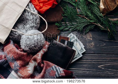 Christmas Shopping Concept. Big Sale. Seasonal Rustic Background With Bags Money Credit Cards Wallet
