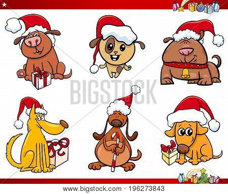 Dog Characters On Christmas Cartoon Set