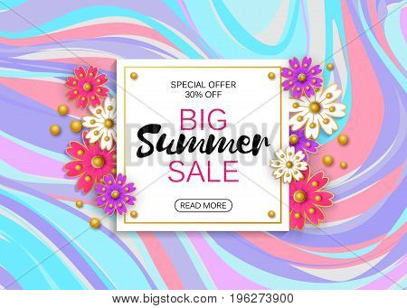 Summer sale banner design template. Vector illustration. Advertising template.
