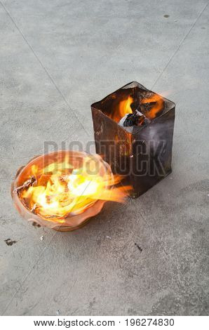 People Burn Joss Paper Gold And Silver Paper For Worship