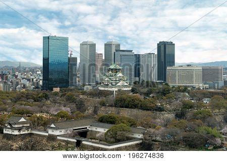 Osaka Castle with Osaka business park financial district in Osaka city Japan