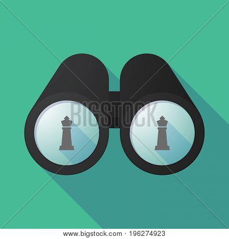 Long Shadow Binoculars With A  King   Chess Figure