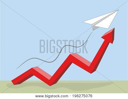 The paper plane rises higher in the chart. vector illustration.