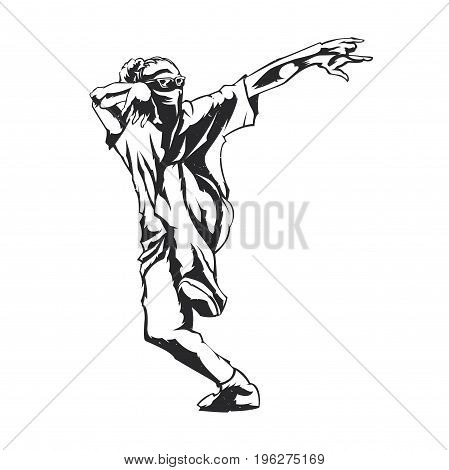 Graphic isolated illustration of a street dancer