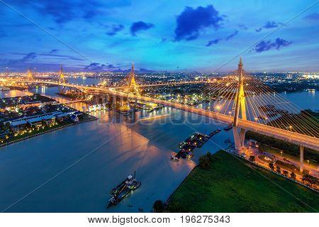 Bhumibol Bridge at sunset in Bangkok Thailand. The Industrial Ring Road Bridge in Bangkok Thailand.