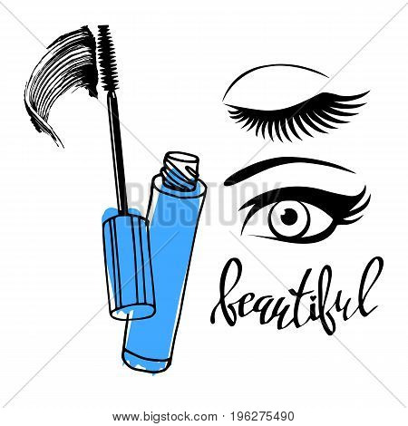 Mascara fashion banner clear template for advertising or magazine page.