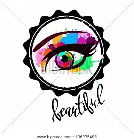 vector illustration eye human black eyeball look white eyesight vision see
