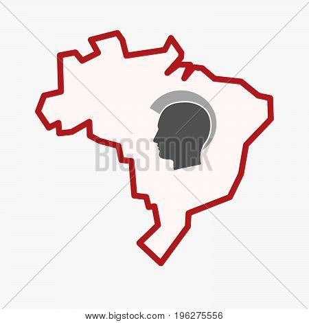 Isolated Brazil Map With  A Male Punk Head Silhouette