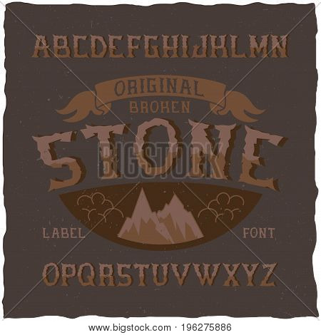 Vintage label typeface named Stone. Good font to use in any vintage labels or logo.