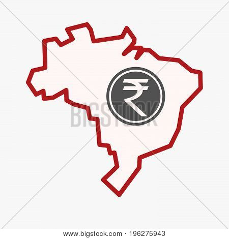 Isolated Brazil Map With  A Rupee Coin Icon