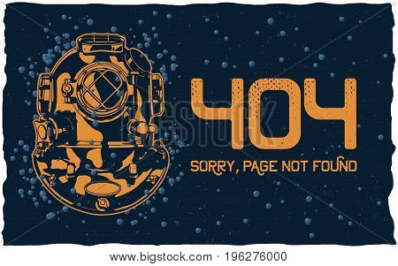 404 page not found concept with diver helmet and bubbles on dark background vector illustration