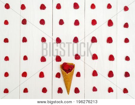 Top View Of One Waffle Cone With Sweet Fresh Organic Raspberries Between Rraspberry Rows, Free Space