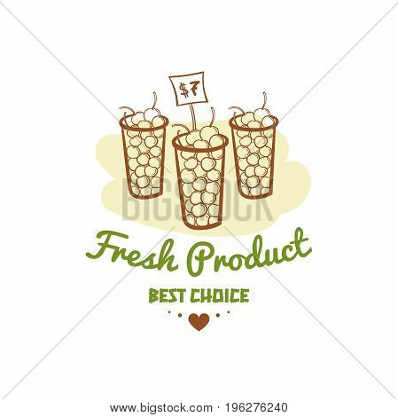 Fresh product. Best choice. Vector illustration of color emblem of organic natural fresh products