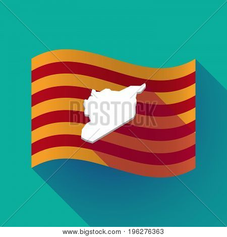 Long Shadow Catalonia Flag With  The Map Of Syria