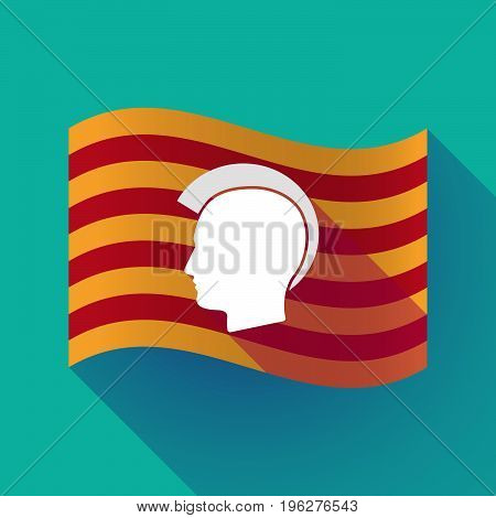 Long Shadow Catalonia Flag With  A Male Punk Head Silhouette