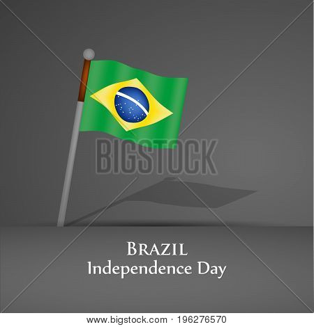 illustration of Brazil flag with Brazil Independence Day text on the occasion of Brazil Independence Day