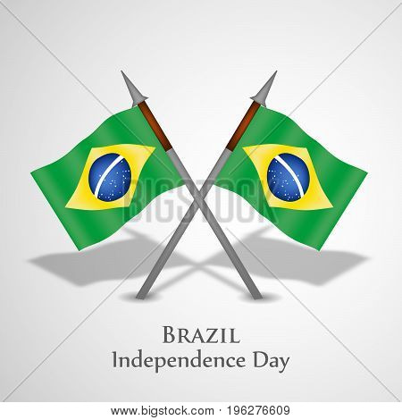 illustration of Brazil flags with Brazil Independence Day text on the occasion of Brazil Independence Day
