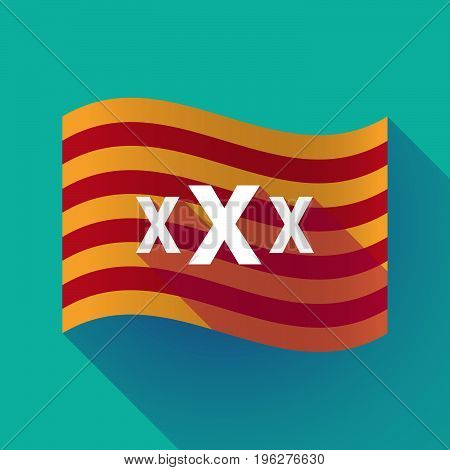 Long Shadow Catalonia Flag With  A Xxx Letter Icon