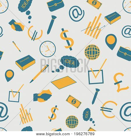 Hand drawn business seamless pattern in doodle style with office accessories in blue and yellow colors on grey background vector illustration