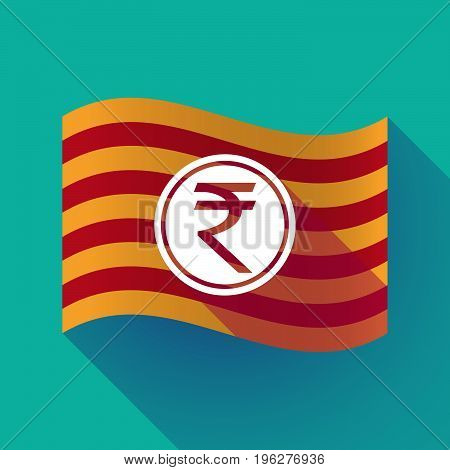 Long Shadow Catalonia Flag With  A Rupee Coin Icon