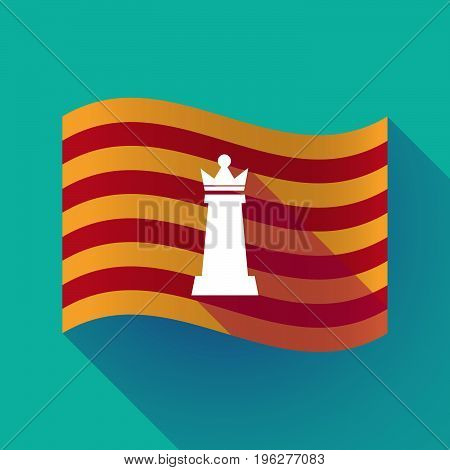 Long Shadow Catalonia Flag With A  Queen   Chess Figure