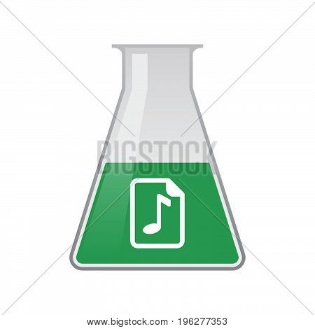 Isolated Chemical Flask With  A Music Score Icon