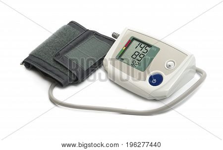 Blood pressure monitor (tonometer) on a white background
