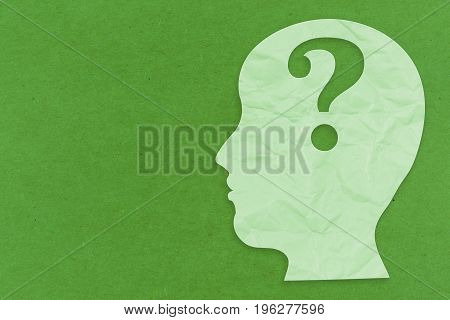 mental health concept with 3d rendering side face and question mark